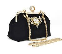 28dfd99261bf Вечерний клатч черный велюр/лак, сумочка Rose Heart 002, расцветки ...
