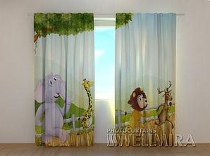 """Фото шторы """" Веселые животные"""" 250 х 260 см"""