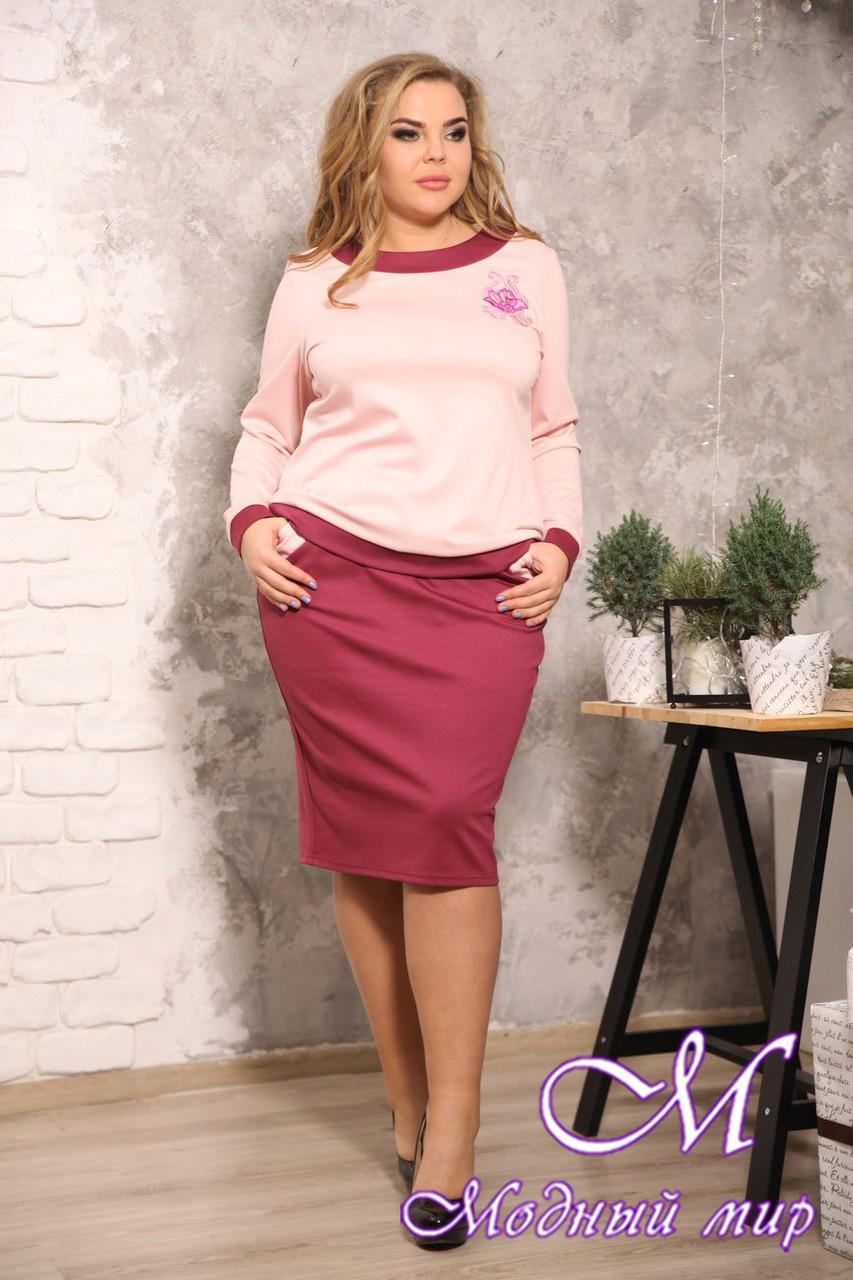 Женский офисный юбочный костюм батал (р. 48-90) арт. Идеал
