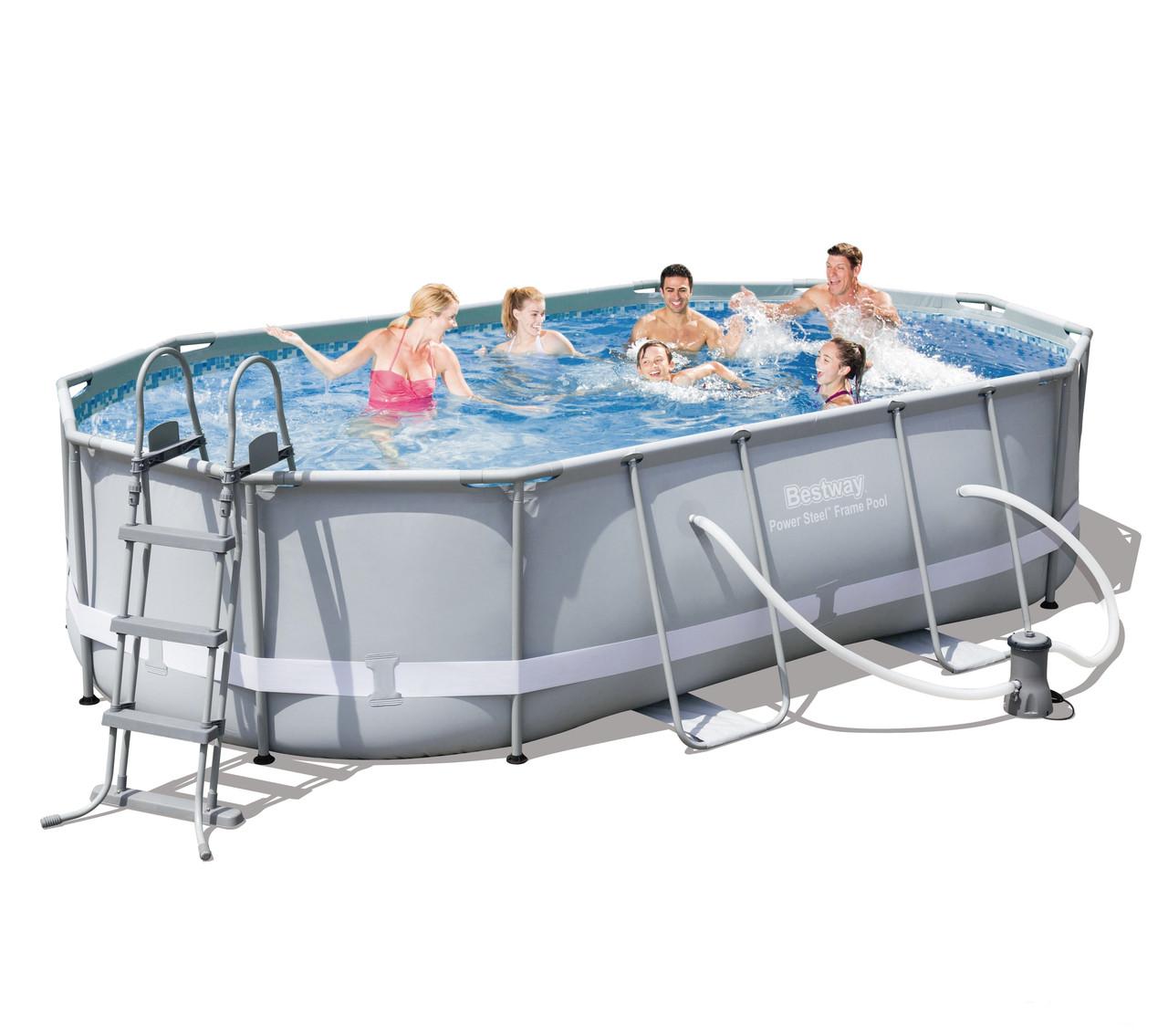 Каркасный бассейн Bestway Сборный Power Steel Oval Frame 488х305х107 см Басейн овальный