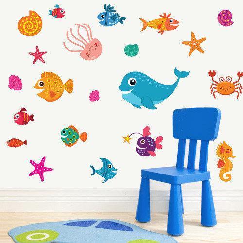 Набор виниловых наклеек в детскую Морские жители (рыбы, дельфины, морской мир, комплект детских стикеров)