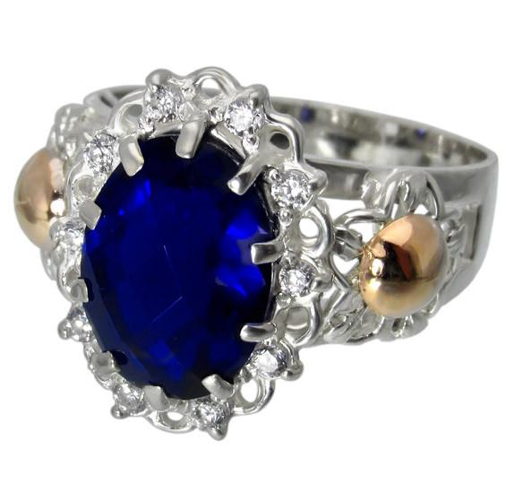 """Серебряное кольцо с золотыми накладками """"Ажур"""""""