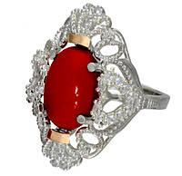 """Серебряное кольцо с золотыми накладками """"Джамала"""" коралл"""