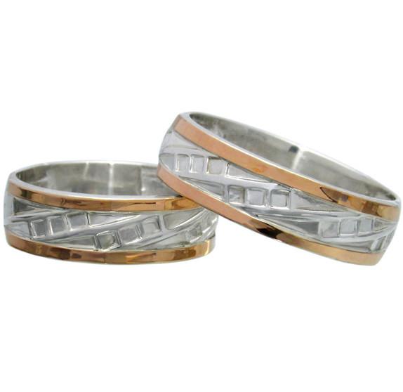 """(Пара) Серебряные обручальные кольца с золотыми вставками """"Небеса"""""""