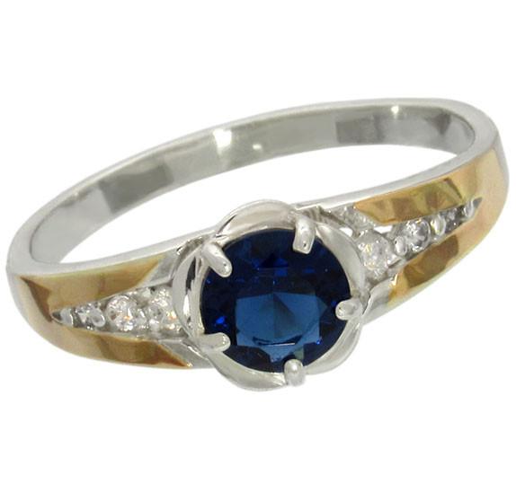"""Женское серебряное кольцо с золотыми пластинами """"Анжелика"""""""
