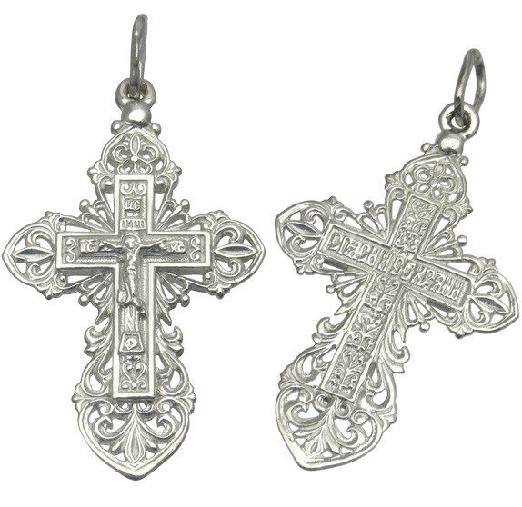 Серебряный крестик спаси и сохрани 1029кр