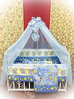 Комплект детского постельного в кроватку премиум класса 9 в 1 с мишкой на облаках сине-желтого цвета