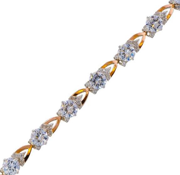 Серебряный браслет женский с золотыми пластинами арт. 30068