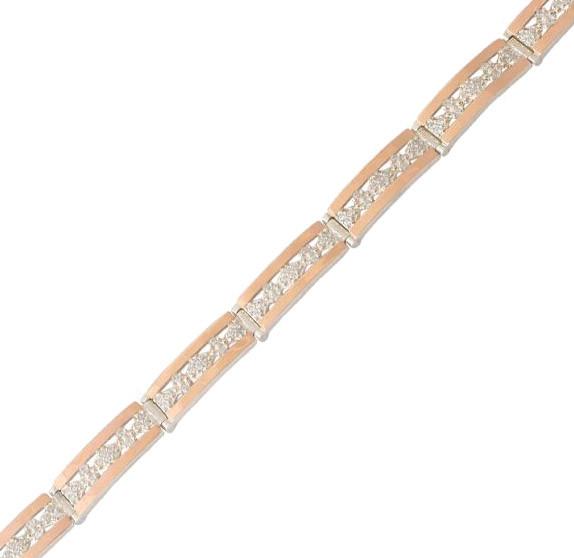Серебряный браслет женский с золотыми пластинами арт. 30077
