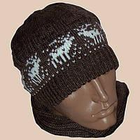 Вязаная мужская шапка с норвежскими орнаментами