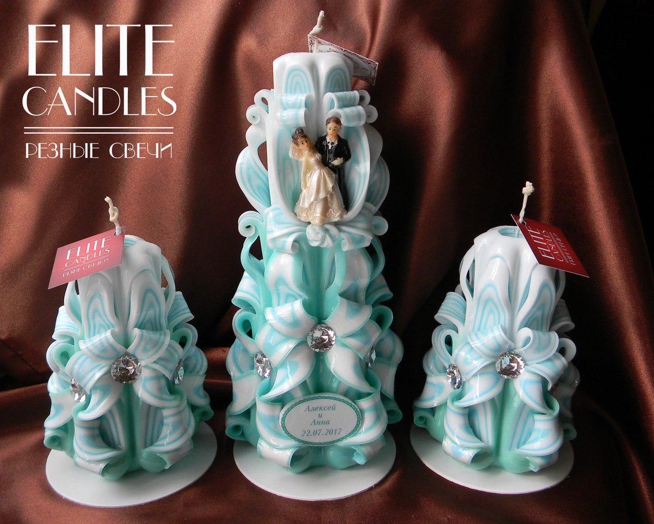 Свадебные свечи в оттенке Тиффани