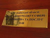 Табличка металлическая (латунь 2 мм), 150х70 мм (Покрытие : Без покрытия; )