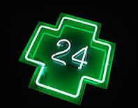 Крест для аптеки неоновый 24 часа, 600х600 мм (Вид: Двухсторонний;  Цвет стального каркаса: Белый;)