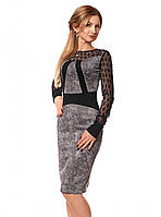 Женское вечернее платье с гипюром серого цвета. Размеры 42-48. Модель 1048