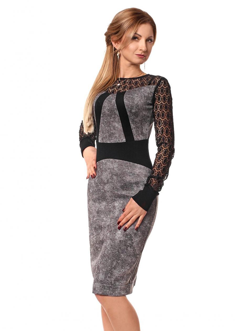28e3247eefdb4b6 Женское вечернее платье с гипюром серого цвета. Размеры 42-48. Модель 1048 -