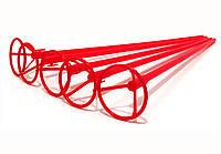 Палочки держатели для шариков фольгированных красные 40 см. (50 шт.)