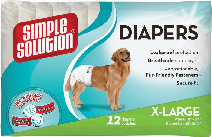 Simple Solution Disposable Diapers, X-Large, 12 шт - подгузники для собак крупных пород