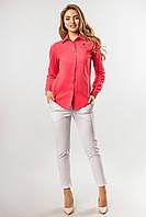Классическая женская рубашка льняная с длинными рукавами коралловая