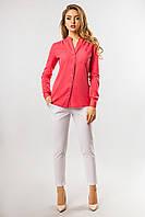 Базовая женская коралловая рубашка льняная воротник-стойка длинный рукав