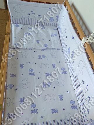Детское постельное белье и защита (бортик) в детскую кроватку Зайка фиолетовый, фото 2