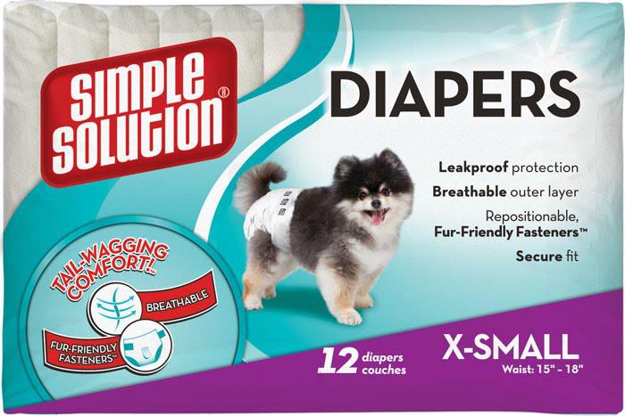 Simple Solution Disposable Diapers, X-Small, 12 шт - подгузники для собак мелких пород