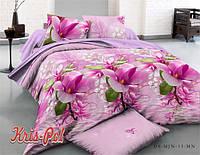 Комплект постельного белья двуспальный розовые цветы 5д недорого
