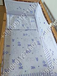 Детское постельное белье в кроватку, постельный комплект Зайка фиолетовый
