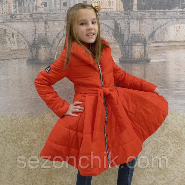 Демисезонный плащ для девочки модный красный