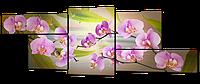 """Модульная картина на искусственной коже""""Ветки розовой орхидеи""""267*100см"""