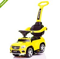 Каталка-толокар Mercedes SX1578-6 желтый, кож сиденье, EVA колеса, MP3 ***