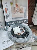 6m2 Теплый пол GrayHot 6м.кв + регулятор (двухжильный нагревательный 59м кабель в клей под плитку)          , фото 1