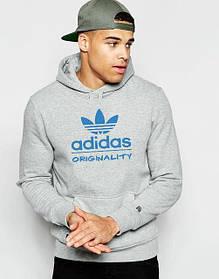 Худи Adidas  | Мужская толстовка | Кенгурушка - синий принт | Качественная реплика