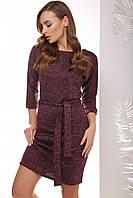 Стильное женское прямое платье с пояском рукав 3/4 баклажановое