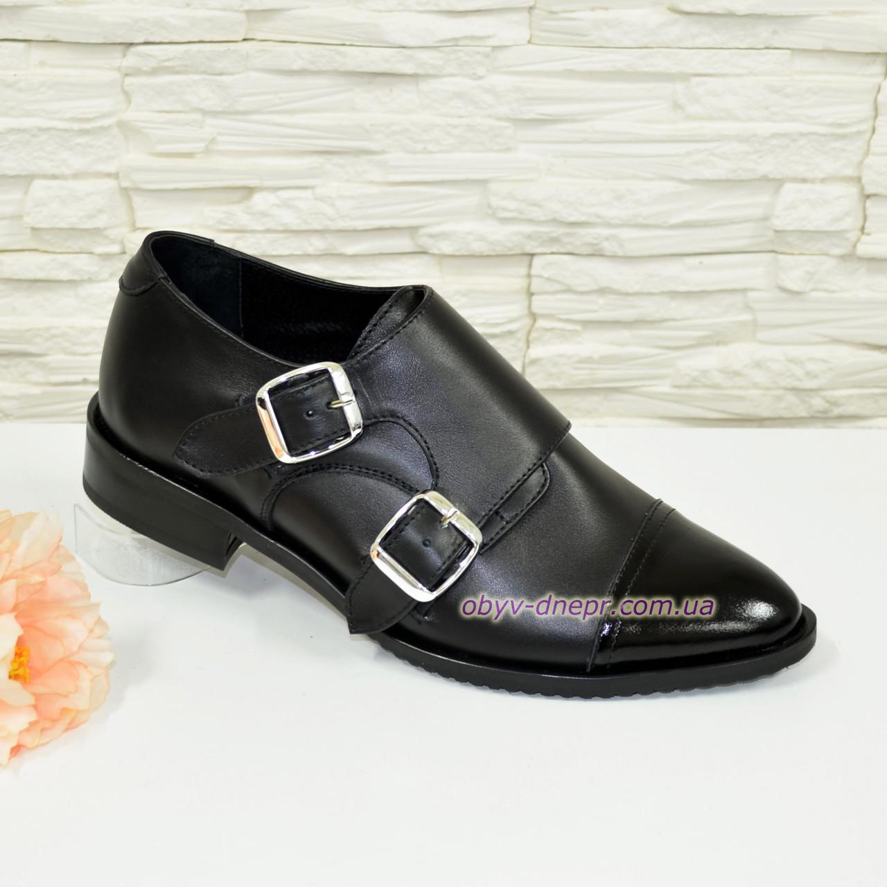 Женские черные туфли, натуральная кожа и лак.