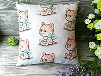 Подушка рыжий котенок с голубым бантом, 32 см * 32 см