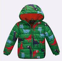 Детская демисезонная куртка с динозаврами. Унисекс. Размеры 90-150.