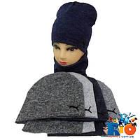 Детская весенняя шапка с хомутом, двойная ангора, для девочки р-р 50-52