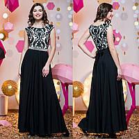 """Вечернее, выпускное длинное платье черное с белым """"Мираж"""""""