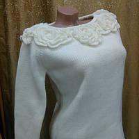 Молодежный женский свитер вязанный, весенний, цвет белый
