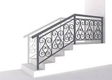 Перила металлические для лестниц с ковкой и без