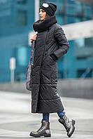 Модный зимний плащ Milan черный(42-48)