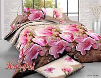 Комплект постельного белья двуспальный цветы 5д