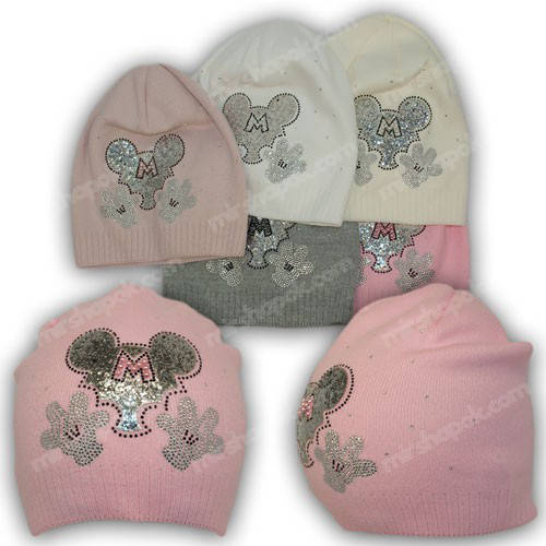 Детские вязаные шапки для девочек, р. 44-46