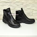 Ботинки черные кожаные для мальчиков на утолщённой подошве. Подростковые., фото 2