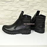 Ботинки черные кожаные для мальчиков на утолщённой подошве. Подростковые., фото 3