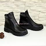 Ботинки черные кожаные для мальчиков на утолщённой подошве. Подростковые., фото 5