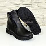 Ботинки черные кожаные для мальчиков на утолщённой подошве. Подростковые., фото 7