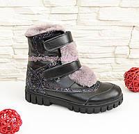 Ботинки кожаные подростковые, для девочек, на липучках., фото 1