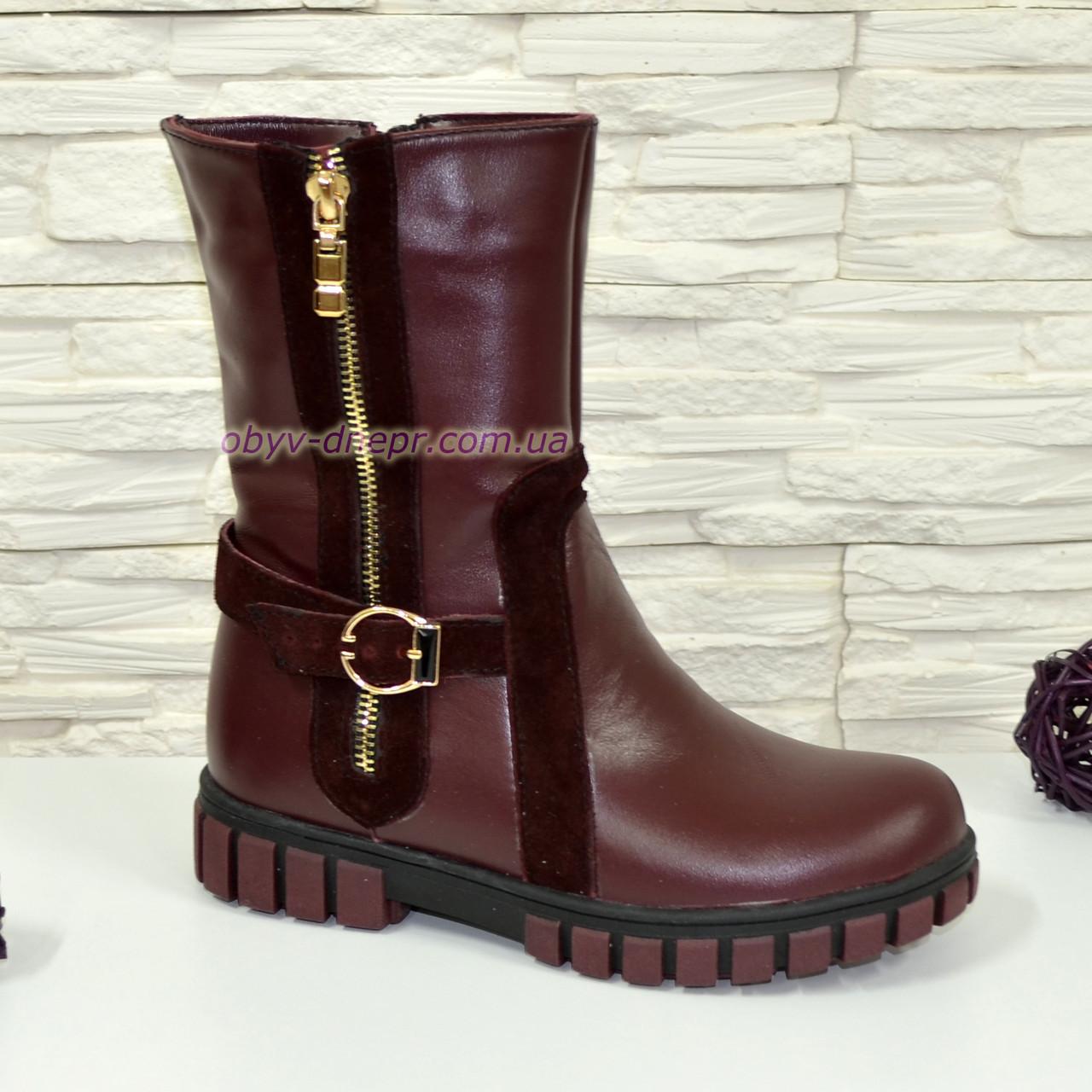 Ботинки бордовые подростковые, для девочек, на утолщённой подошве