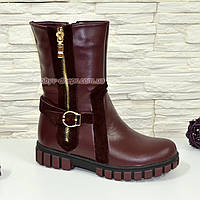 Ботинки бордовые подростковые, для девочек, на утолщённой подошве, фото 1